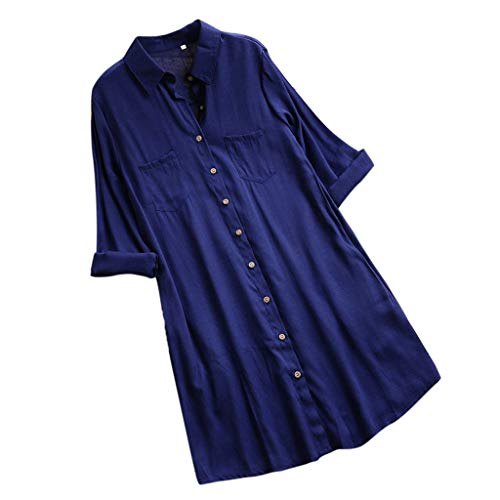 (Mymyguoe Damen Tops Beiläufige Solide Einfarbig Sweatshirt mit Taschen Langarm Button Tops Lang Mini Shirt Kleid Longpullover Langarmshirt Long Top Oversize Longshirt)