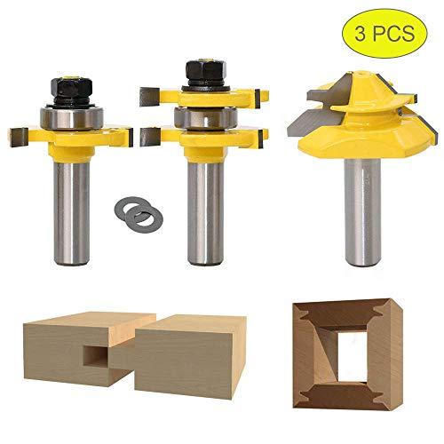 45 Grad Lock Mitre Router Bit, APLUS Holzfräser, Nutfräser + 1/2 12,7 mm Schaft Zungenschaft und Nutfräse Set 3 Zähne in T-Form Cutter aus Holz für Holzarbeiten (1/2 inch - 12,7 mm)
