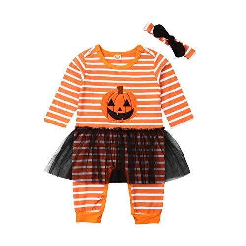 Unglaubliche Kostüm Girl - Kleinkind Baby Boy Girl Halloween Kostüme gestreiften Kürbis Lächeln Strampler Overall Tüll Rock Bro Schwester passende Outfits (Wie Gezeigt, 70)