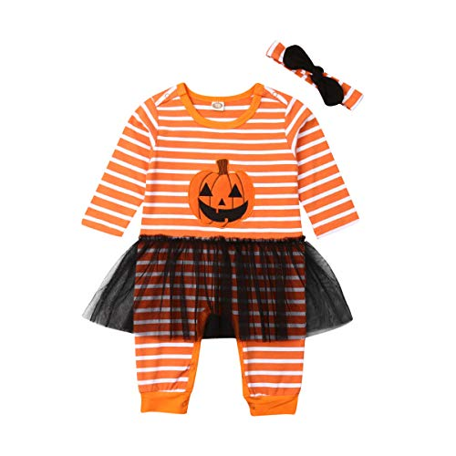 Kleinkind Baby Boy Girl Halloween Kostüme gestreiften Kürbis Lächeln Strampler Overall Tüll Rock Bro Schwester passende Outfits (Wie Gezeigt, - Passende Baby Kleinkind Kostüm