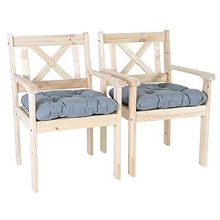 Ambientehome Garten Sessel Stuhl Massivholz inkl. Kissen EVJE, Natur, 2-teiliges Set