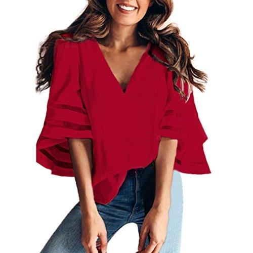 Damen Langarmshirt,Rosennie Damen Tops T-Shirt Bluse Beiläufiges Sweatshirt Pullover Hemd Langarmshirt V-Ausschnitt Patchwork Casual Loose Trompete Ärmel t-Shirt Oberteile Tops(Rot,M)