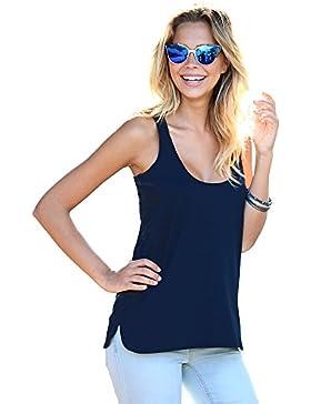 VENCA Camiseta Lisa Espalda nadadora con Costura by Vencastyle