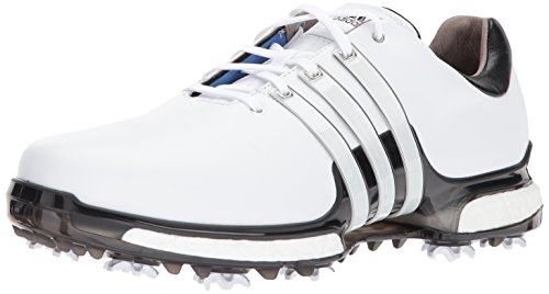 adidas Men's TOUR 360 2.0 Golf Shoe, White/Black, 8.5 Wide US