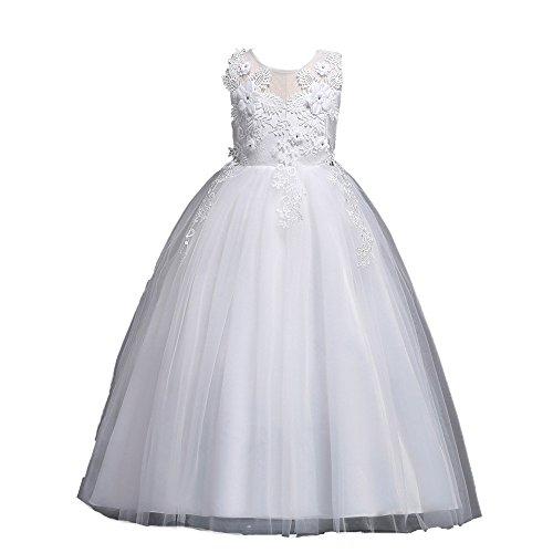 Mädchen Blumenmädchenkleid Kinder Tüll Prinzessin Kleid Weihnachten Ärmellos mit Hochzeit Kleid Blumen Tüll Bogen Kleid Lonshell (6T, B Weiß)