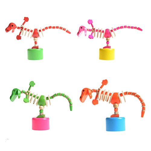 4 Pcs Dinosaur Wooden Toys Cute Cartoon Educational Toy for Kids Toddlers (Random Color)