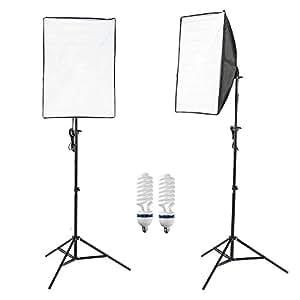Photographique Boîte à lumière 50x70cm Softbox Pied d'éclairage Studio Photo Revêtement Blanc Kit Complet Comprenant 2 Lampe, 2 Softbox (Pour des Effets d'éclairage Doux)