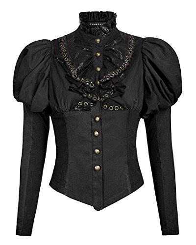 Chemise à jabot noire gothique steampunk avec manches bouffantes Punk Rave Noir