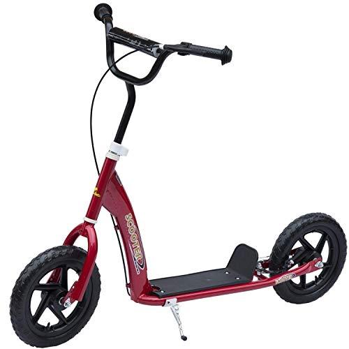 Homcom Patinete Scooter 2 Ruedas 12 Pulgadas Monopatín para Niños y Adultos Manillar Ajustable con Freno y Caballete Carga 100kg...