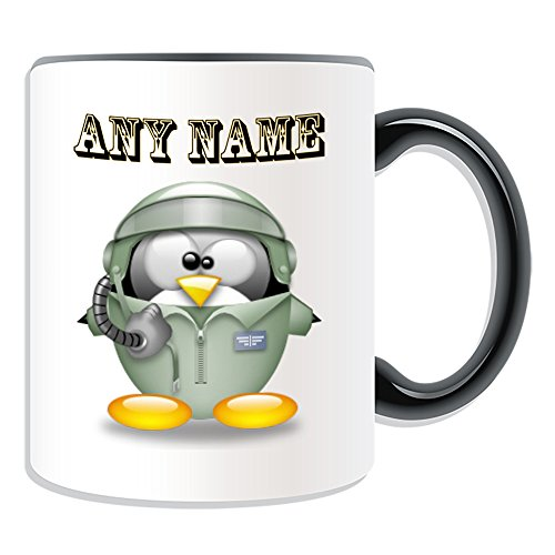 Personalisiertes Geschenk-Aviator Tasse (Pinguin in Kostüm Design Thema, Farbe Optionen)-alle Nachricht/Name auf Ihre einzigartige-Air Force Pilot, keramik, - Aviator Womens Kostüm