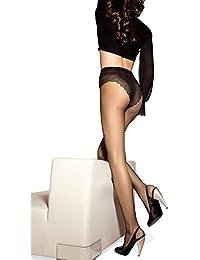 SISI Style 15 XL Collant Donna Velato Elasticizzato con Elegante Corpino  Ricamato Spessore 15 den ( 4db82347b10
