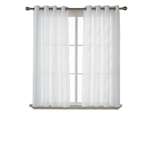 Deconovo Visillos para Ventanas Voile Bordado Cortina Traslúcida con Ojales 2 Paneles