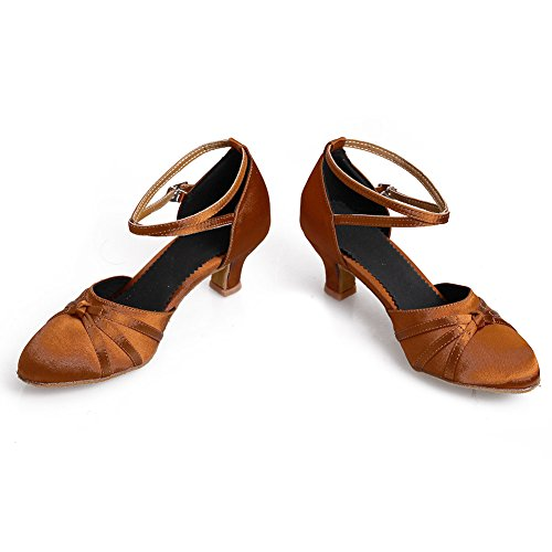 HROYL Damen Tanzschuhe/Latin Dance Schuhe Satin Ballsaal Modell-D5-516 5CM Braun