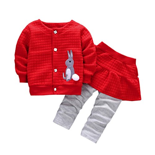 Bekleidung Longra Baby Kleinkind Mädchen winterjacke Kinderjacken Kaninchen Druck Warm Winter Coat Mantel Jacke + Hosen warme Kleidung(0-24Monate) (80CM 12Monate, Red) (Wolle Shirt Flanell)