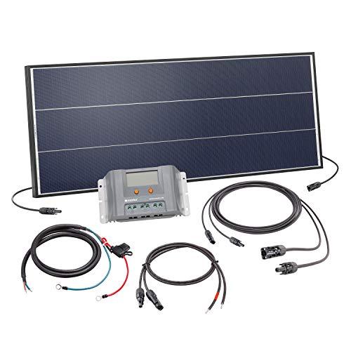 Solar Set 75 Watt Solarmodul mit 30A Laderegler - inkl. 5m MC4 Solarmodulleitung und Akkuleitung mit Sicherung - Solar Bausatz Inselanlage autarke Stromversorgung Camping Wohnmobil, esotec 120050