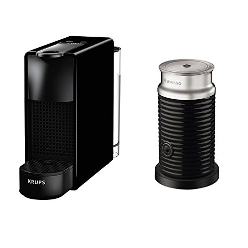 Krups Nespresso Capsule caffè Essenza Mini con Aeroccino, Blocco termico del sistema di riscaldamento, 0.7L, 1260W, 19Bar, Nero
