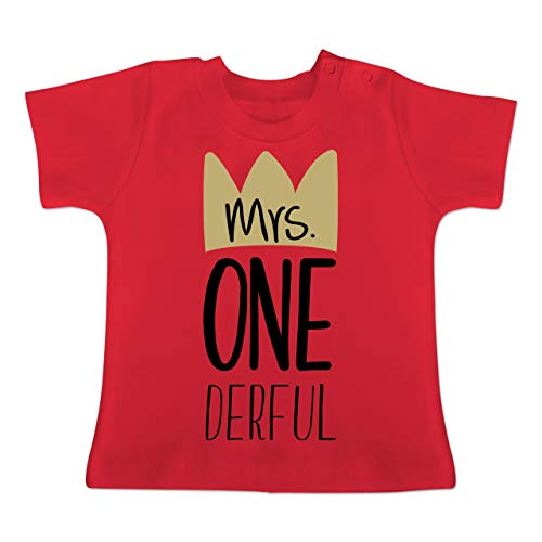 Geburtstag Baby - Mrs One Derful - 12-18 Monate - Rot - BZ02 - Baby T-Shirt Kurzarm
