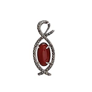 Emprell Women 925 Sterling Silver Oval Red Onyx in Markasite Beautiful Pendant