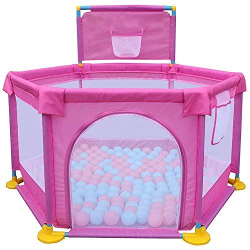 Playpens Pink Faltbare Baby Playard Jungen Mädchen Spielen Yard Fence mit Basketballkorb Indoor Outdoor Child Activity Area - Baby-mädchen-spiel-yard