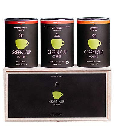 Green Cup Coffee Kaffee - Holzbox Espresso (3x 227g ganze Bohne) Green Cup