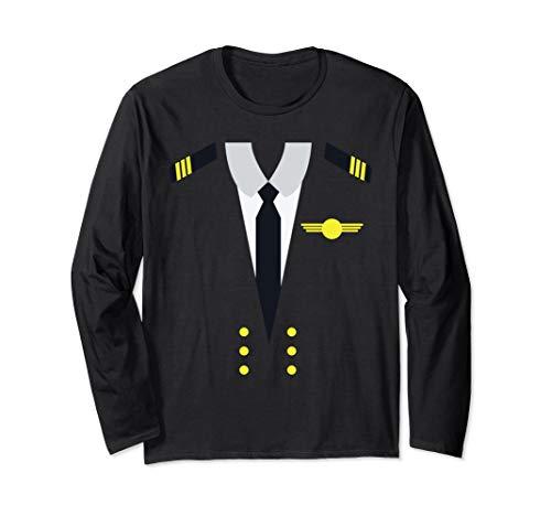 Flugzeug Luftfahrt Pilot Uniform Halloween Kostüm Dress Up Langarmshirt (Pilot Uniform Kostüm)