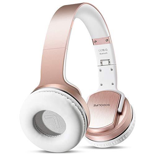 SODOLIFE Bluetooth-Kopfhörer mit Lautsprecher[Verbessertes Design], Faltbare drahtlose Kopfhörer mit eingebautem Mikrofon, TF-Karte, UKW-Radio, kabelgebundenem Modus für Handys PC TV - Rose Gold