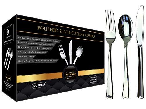 EMPISTO JL Prime 300/280/100 Kunststoffbesteck-Set, Gold/silberfarben, 280 oder 100 Gabeln, strapazierfähige Utensilien für Partys und Hochzeiten, Einweggeschirr, Gold/Silber Silber