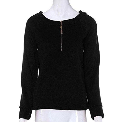Rcool Frauen Langarm Pullover Hoodies O-Ausschnitt Bluse Kapuzenpullover Hoodies Mode Sweatshirts Pulli Schwarz