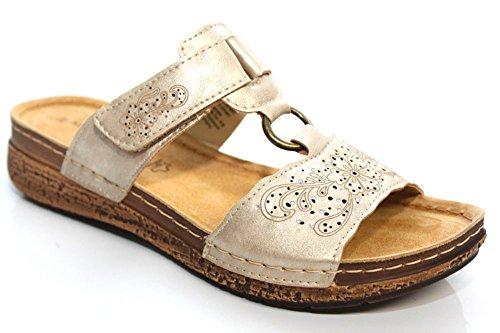 Marco Tozzi Revive Donna Oro sbandato estate sandali casual taglia UK 3–9 Gold