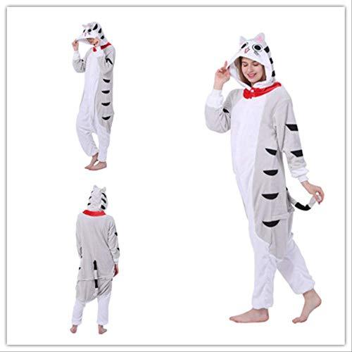 Tieroverall Onesie Käse Katze mit Kapuze Erwachsenen Pyjama Unisex Flanell Cosplay Kostüm Familien Pyjama Halloween Nachtwäsche (Süße Katze Kostüm Für Teenager Mädchen)