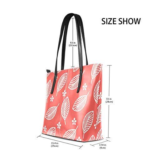 MALPLENA Malplee Damen Handtasche mit kleinen Blumen und großen Blättern, weich, Weiß -