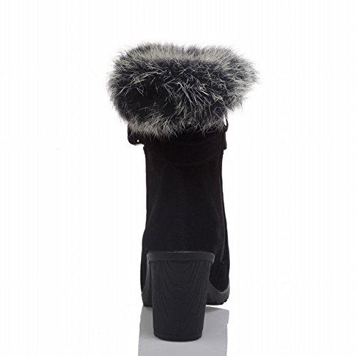Mee Shoes Damen warm gefüttert chunky heels Plateau kurzschaft Stiefel Schwarz