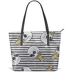 Tote de cuero suave para mujer, conos de helado - Toss On Grey Stripes - LAD Fashion Handbags Satchel Purse