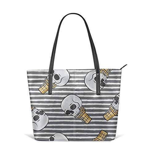 Frauen weiches Leder Tote Umhängetasche Schädel Eistüten - Toss On Grey Stripes - LAD Fashion Handtaschen Satchel Purse - Stripe Zip Satchel