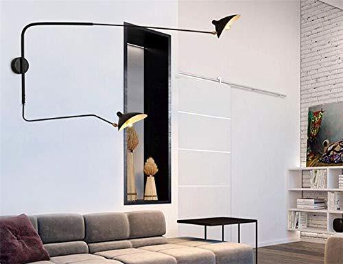 HNZZN Decoración moderna Sala de estar de 2 cabezas Serge Mouille aplique de pared Dormitorio iluminado con luz de pato Comedor iluminado, Negro, L125CM