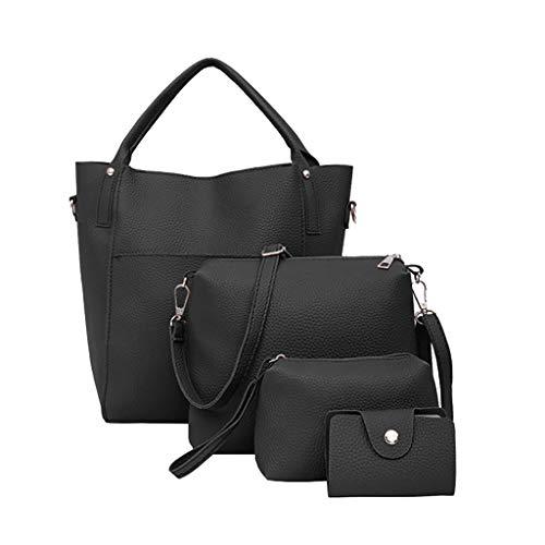 FOANA Damen Handtaschen Schultertasche Geldbörse Kartenhalter Tasche Damen Umhängetasche Canvas Umhängetasche Handtasche in Kontrastfarbe (Schwarz 7, 1)