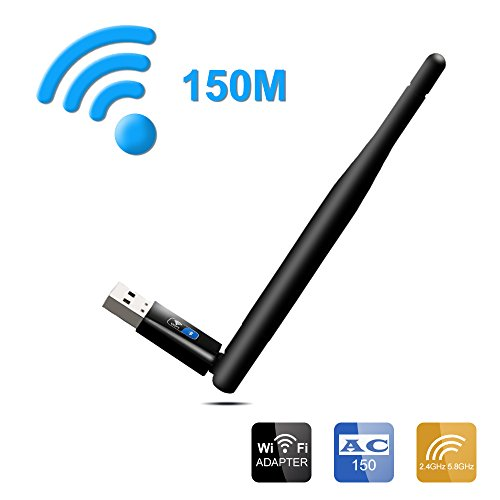 Price comparison product image Wireless Wifi Adapter,  OKE USB High-Speed Bluetooth 4.0 Speed 150Mbps with External Antenna for PC Laptops,  Support Win 7 / 8 / 8.1 / 10 / XP / vista / Linux