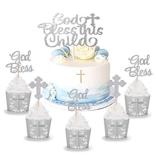 JeVenis Set von 25 Silber Segne Dieses Kind Cake Topper Taufe Cupcake Topper Gott segne Cupcake Topper Taufe Cake Topper Taufe Cupcake Topper Heilige Kommunion Cake Topper