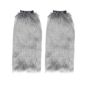 Toyvian 40cm Kunstpelz Beinwärmer pelzigen Stulpen Stiefelabdeckungen für Frauen Mädchen grau