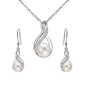 Clearine Damen 925 Sterling Silber Delicate Elegant CZ Cream Süßwasser-Zuchtperle Spiral Unendlichkeit Pendant Halskette Hook Ohrringe Schmuck Set