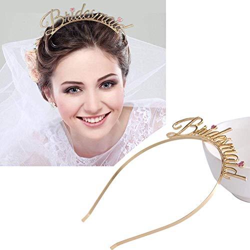 Vektenxi Premium-Qualität Brautjungfer Brief Herz Tiara Stirnband Bachelorette Hen Geschenk Lady Party Hochzeit Haarband
