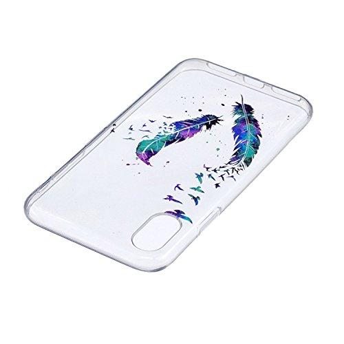 Für iPhone X,Sunrive Schutzhülle Etui Hülle transparent weich ultra slim TPU Silikon Rückschale Silicon Cover Tasche Case Bumper Abdeckung Handyhülle(tpu Katze2)+Gratis Universal Eingabestift tpu Farbe Federn