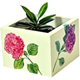 Handcrafted Wooden Decorative Multi Utility Storage Planter Box With Hydrangeas- The Weavers Nest