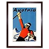 TRAVEL WINTER SPORT AUSTRIA SNOW SKI MOUNTAIN ALPINE FRAMED ART PRINT B12X6581