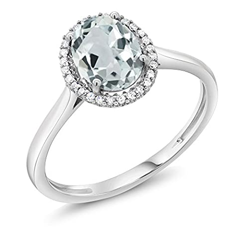 10K White Gold Diamond Ring 1.10 Cttw with Natural Oval Sky Blue Aquamarine
