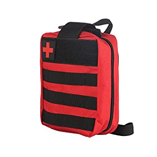 First Aid Backpack, ABEDOE MOLLE Compatible EMT First aid Pouch 600D Water Resistant Nylon (Red)