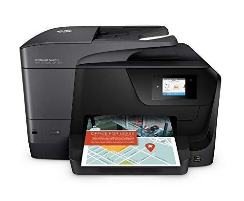 HP OfficeJet Pro 8715 K7S37A Stampante Multifunzione a Getto di Inchiostro, Stampa, Scanner, Fotocopiatrice, Fax, Wi-Fi, Ethernet, USB e NFC, Compatibile con il Servizio di Instant Ink, Nero