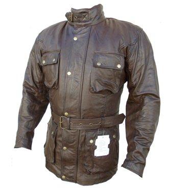 Bikers-Gear-UK-Australian-Bikers-Gear-TrailMaster-marrone-vintage-classico-cerato-et-trattati-da-moto-in-pelle-giacca-taglia-XXL