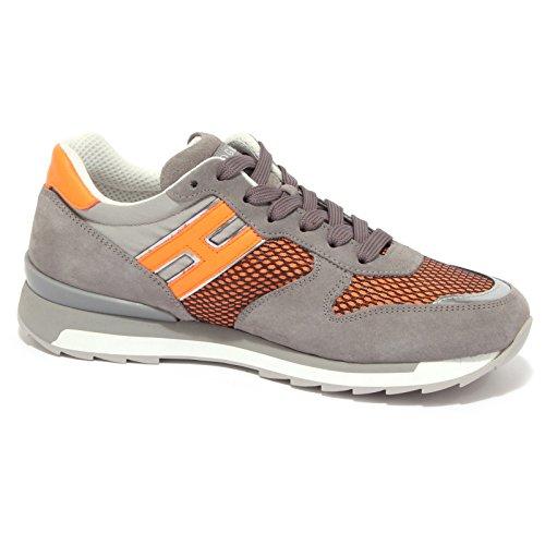 3756Q sneaker scarpa uomo HOGAN REBEL shoes men Grigio/Arancione
