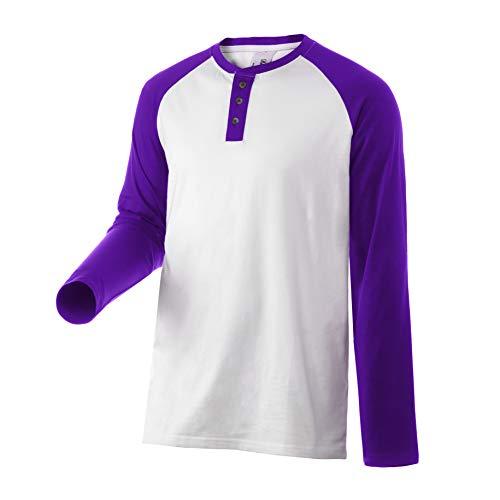 ba569cf4 Rich Cotton Henley 3 Button Long Sleeve (Blanco/Púrpura, S)